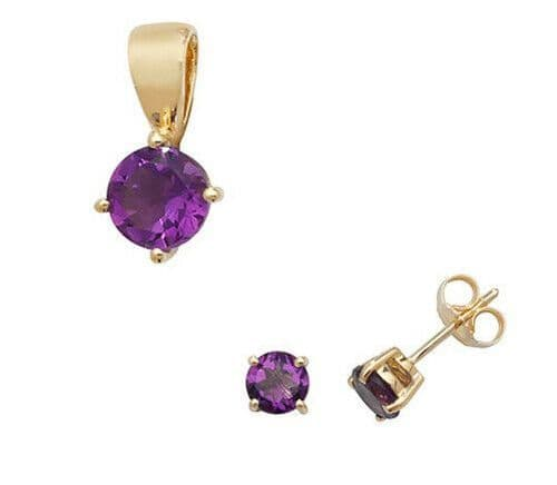 Amethyst Pendant and Earrings Set Classic Solitaire 9ct Yellow Gold Hallmarked